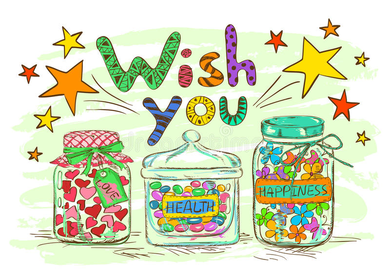 Birthday greeting card with jars and wishes. Birthday greeting card with cartoon mason jars and funny wishes stock illustration