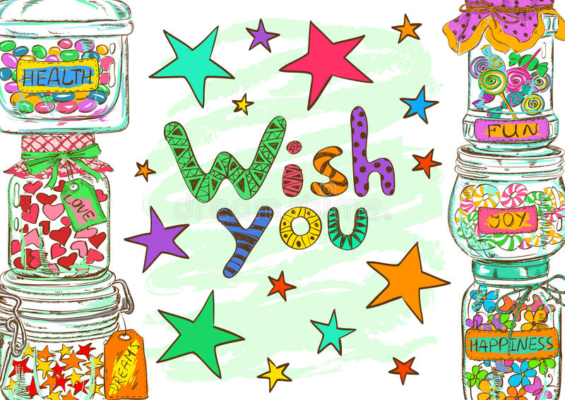 Birthday greeting card with jars and wishes. Birthday greeting card with cartoon mason jars and funny wishes royalty free illustration