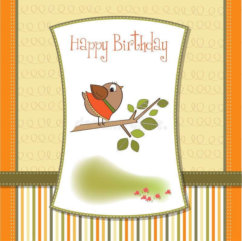 Birthday greeting card with little bird. Birthday greeting card with funny little bird stock illustration