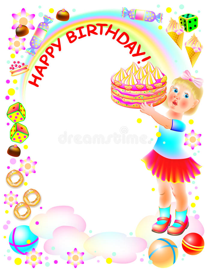 Birthday Greeting Card With Little Girl Holding A Cake Stock Vector