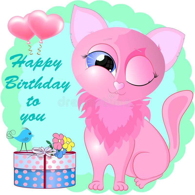 Birthday greeting card with pink little cat. royalty free illustration