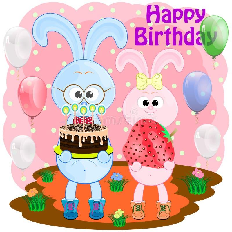 Birthday greeting card with rabbits. Bunny cartoon vector illustration. two hares cartoon vector illustration vector illustration
