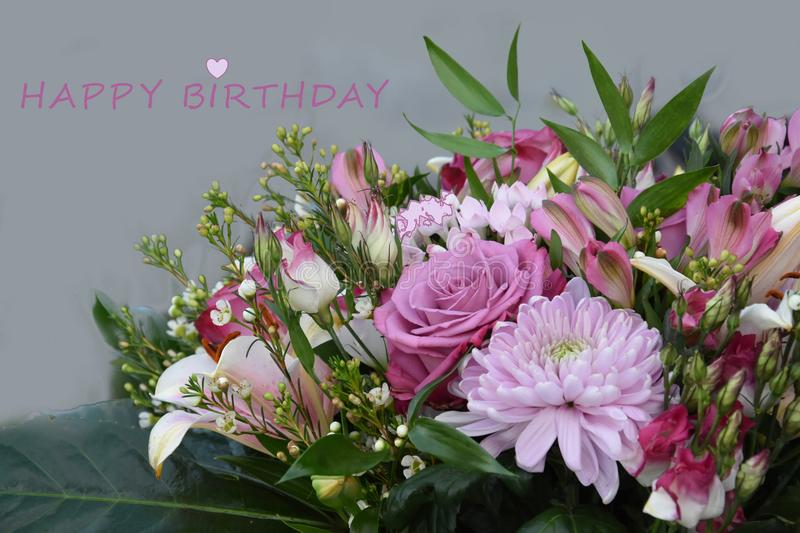 Birthday Greeting Card With Rose Flowers Stock Photo Image Of