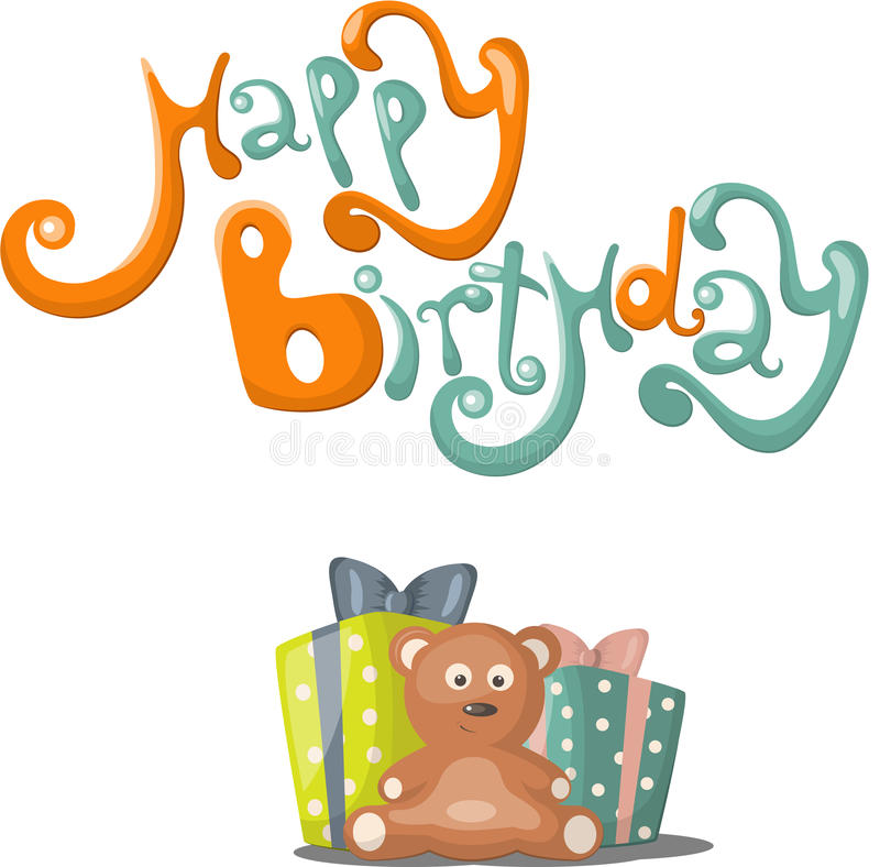 Birthday greeting card. With teddybear, gift and balloons royalty free illustration