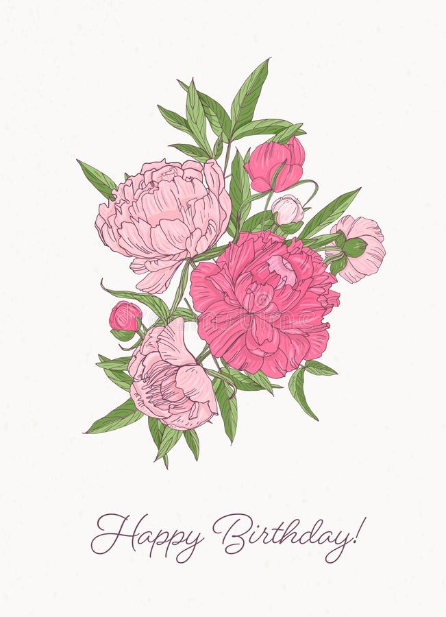 Birthday greeting card template with bunch of gorgeous blooming peony flowers hand drawn on white background. Elegant royalty free illustration