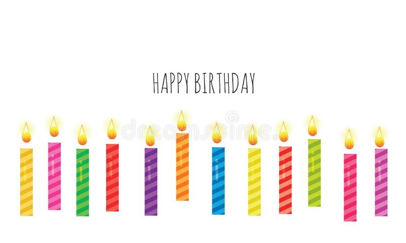 Birthday greeting card template. Colorful candles set isolated on white. Vector. Illustration stock illustration