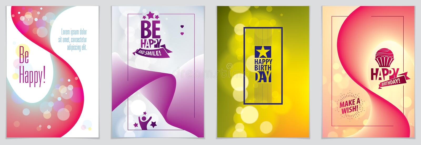 Birthday greeting card vector design. Includes lettering composition and balloons combined with wavy fluid colorful shape abstract. Backgrounds collection. A4 royalty free illustration