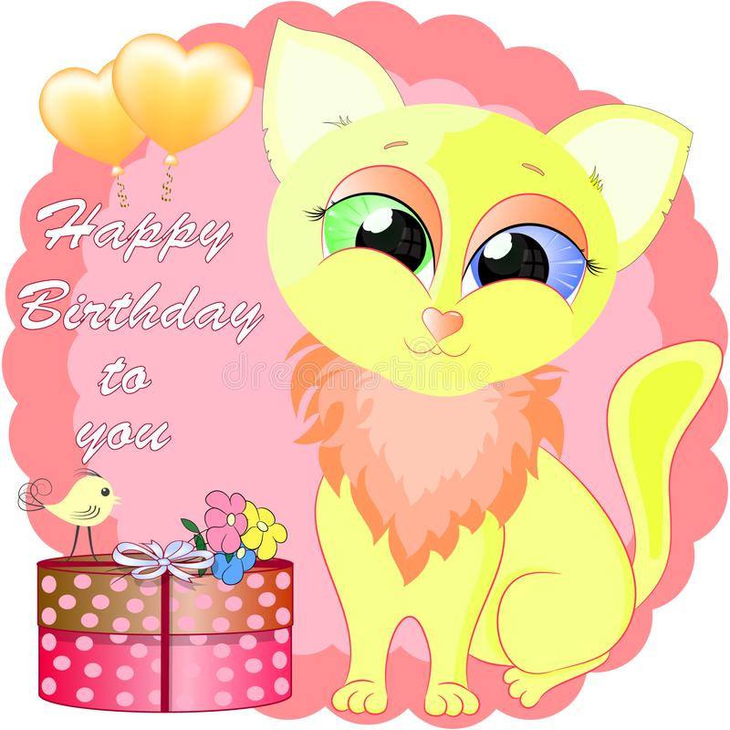 Birthday greeting card with yellow little cat. Cartoon cat vector illustration royalty free illustration