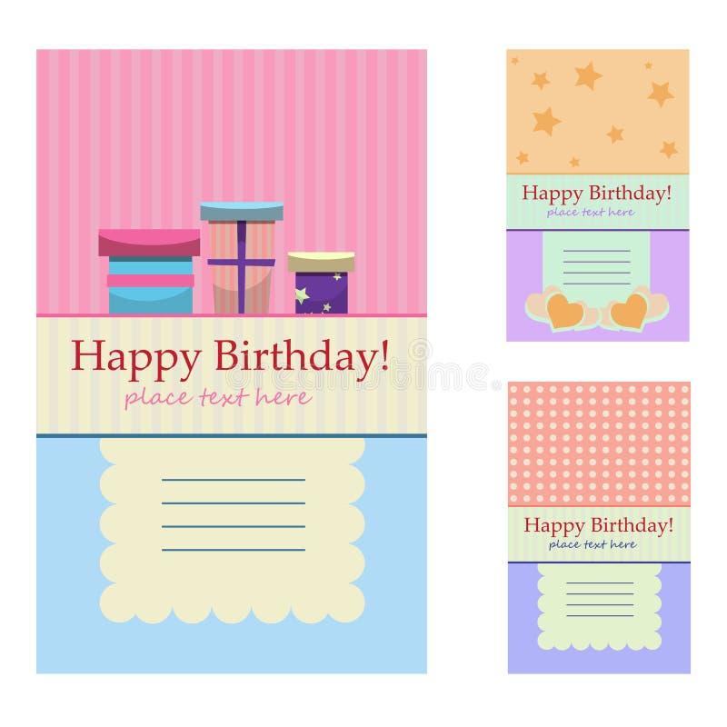 Birthday greeting cards. Vector illustration vector illustration