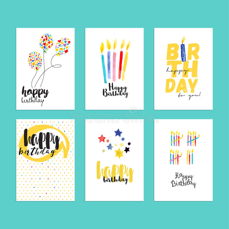 Birthday greeting cards collection royalty free illustration