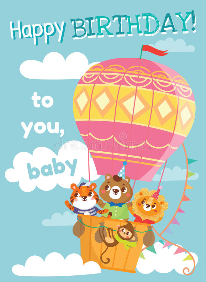 Birthday greeting cards with cute animals. Funny animals on hot air balloon. Vector illustration royalty free illustration