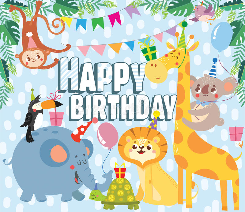 Birthday greeting cards with cute animals. Vector illustration royalty free illustration