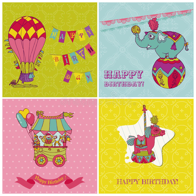 Birthday Greeting Cards for Kids. Set of Birthday Greeting Cards for Kids - in royalty free illustration