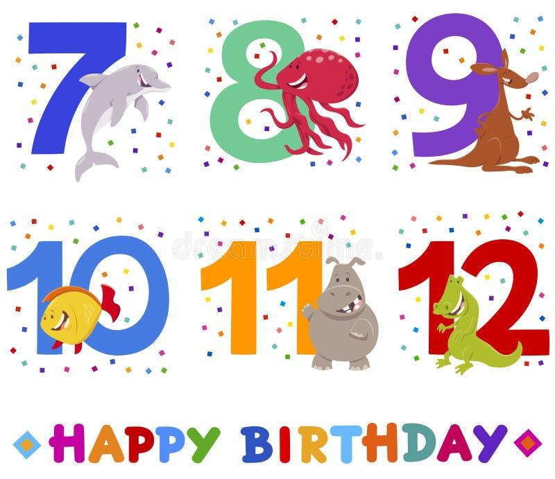 Birthday greeting cards set with cute animals. Cartoon Illustration Design of the Birthday Greeting Cards Set for Children with Cute Animals vector illustration