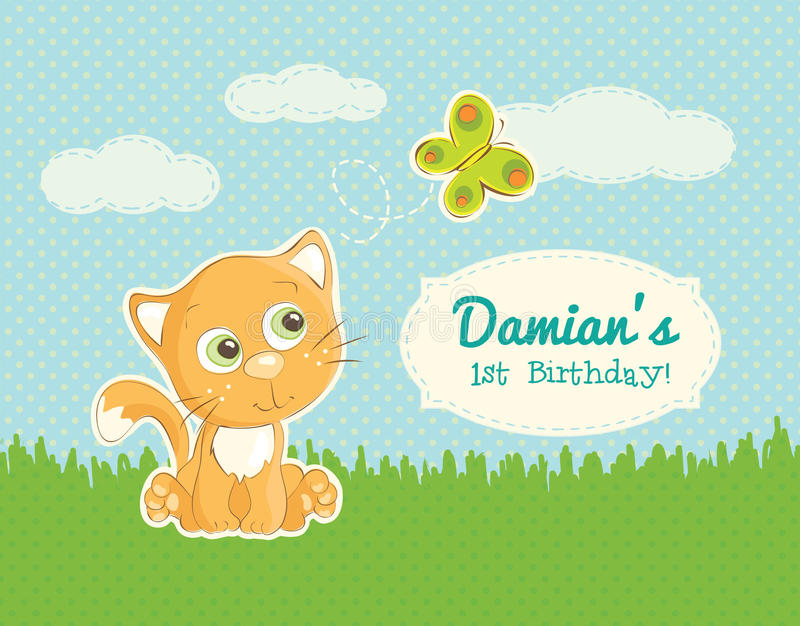 Birthday greeting for a child. Birthday greeting card for a child with an illustration of a cute little kitten royalty free illustration