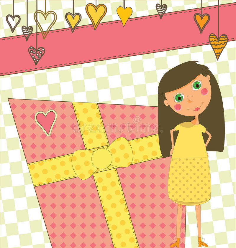 Birthday Greeting with Girl and Gift. A sweet birthday greeting with a young girl stock illustration