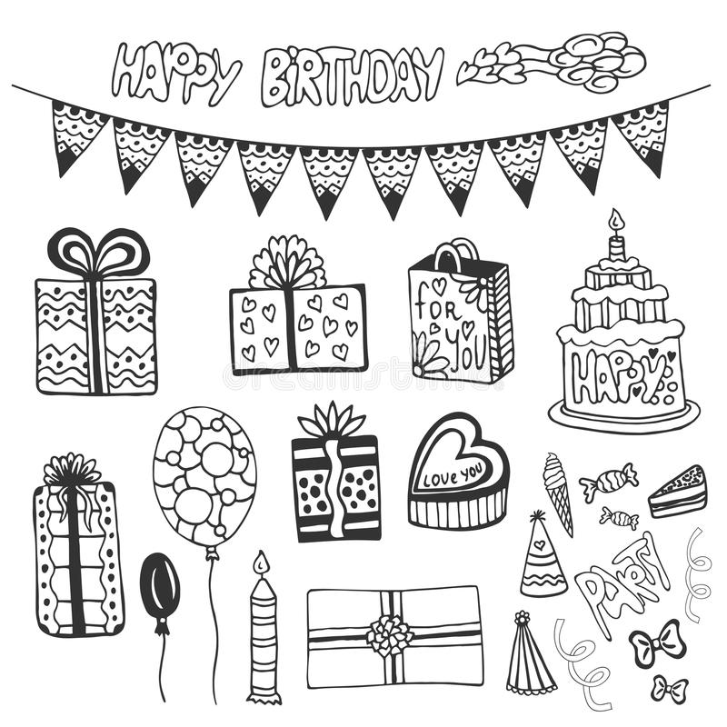 Birthday hand drawn elements. Doodle set with birthday cakes, gift box, balloons and other party elements. stock illustration