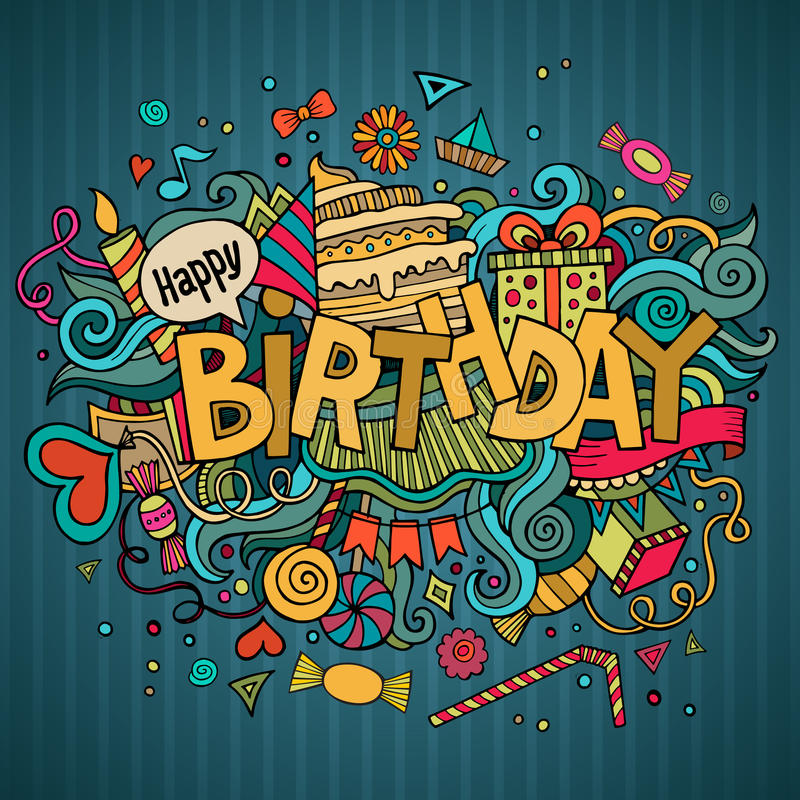 Birthday hand lettering and doodles elements stock illustration