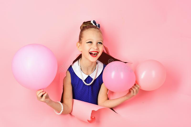 Birthday, happiness, childhood, look. Small girl child with party balloons, celebration. Little girl with hairstyle hold stock photos
