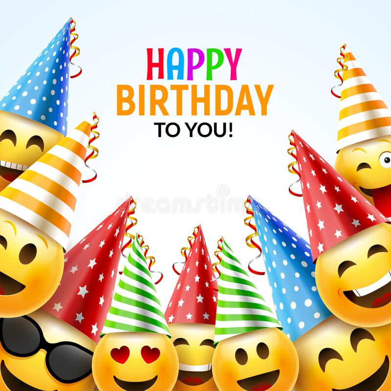 Birthday happy smile greeting card. Vector birthday background 3d colorful character design vector illustration