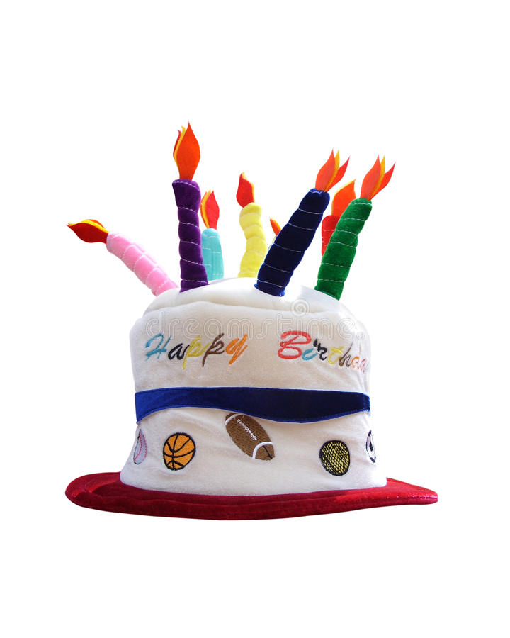 Birthday hat. Funny Happy Birthday Hat with candles on top isolated on white background stock photos