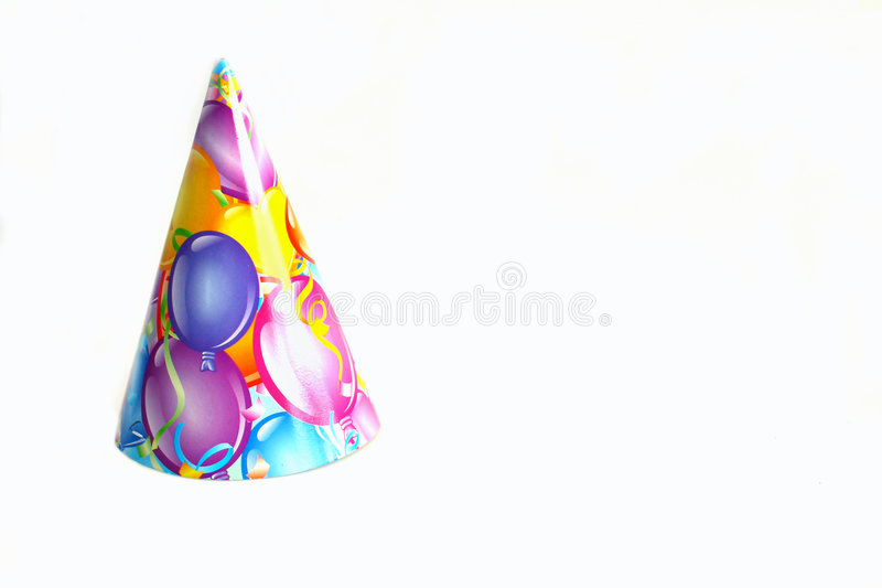 Birthday hat. With balloune printing on a white background stock photo