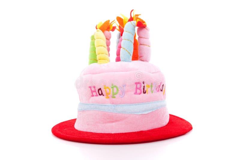 Birthday hat cake. Isolated on white stock photography