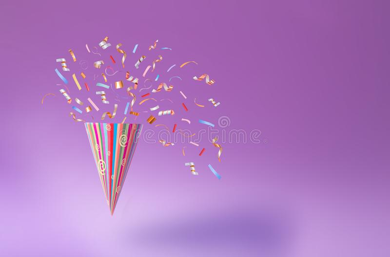 Birthday hat with confetti on paper background royalty free stock image