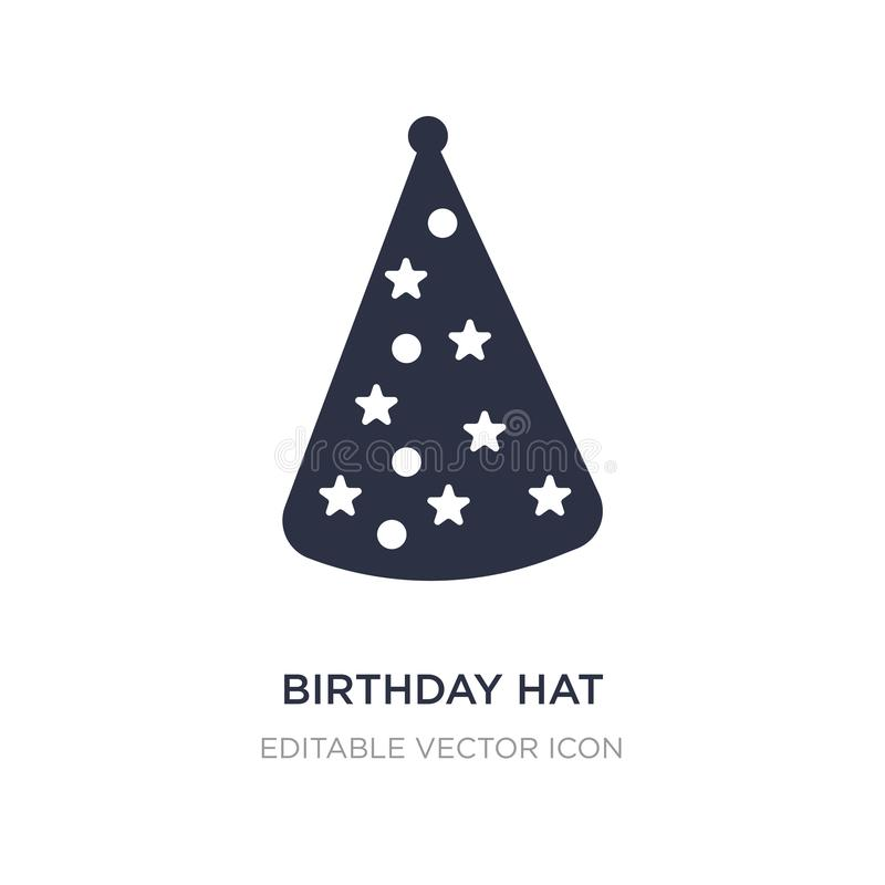Birthday hat with dots and stars icon on white background. Simple element illustration from Fashion concept. Birthday hat with dots and stars icon symbol royalty free illustration