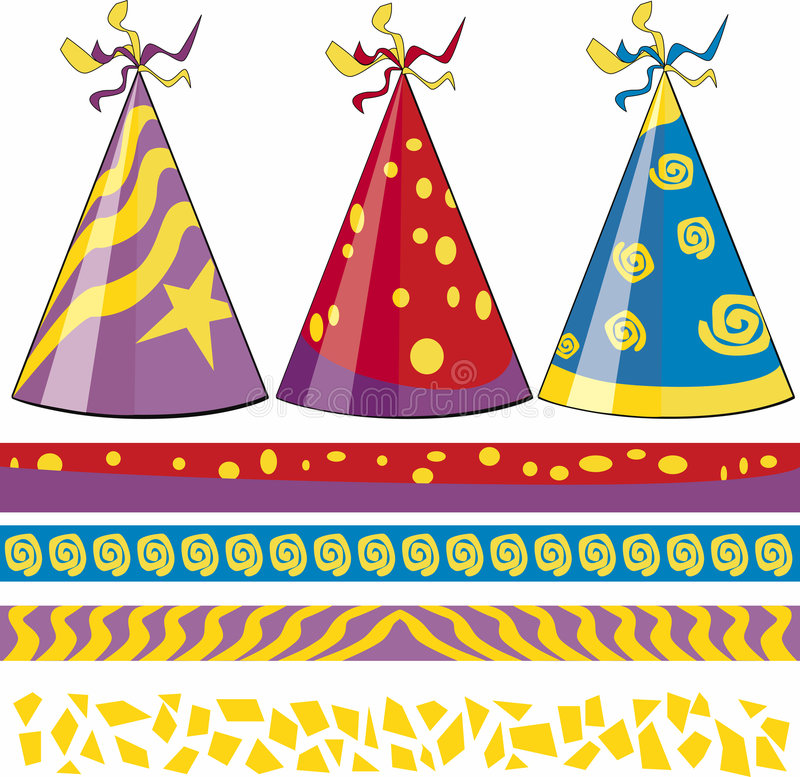 Birthday hats. With matching border, New Years - wild designs stock illustration