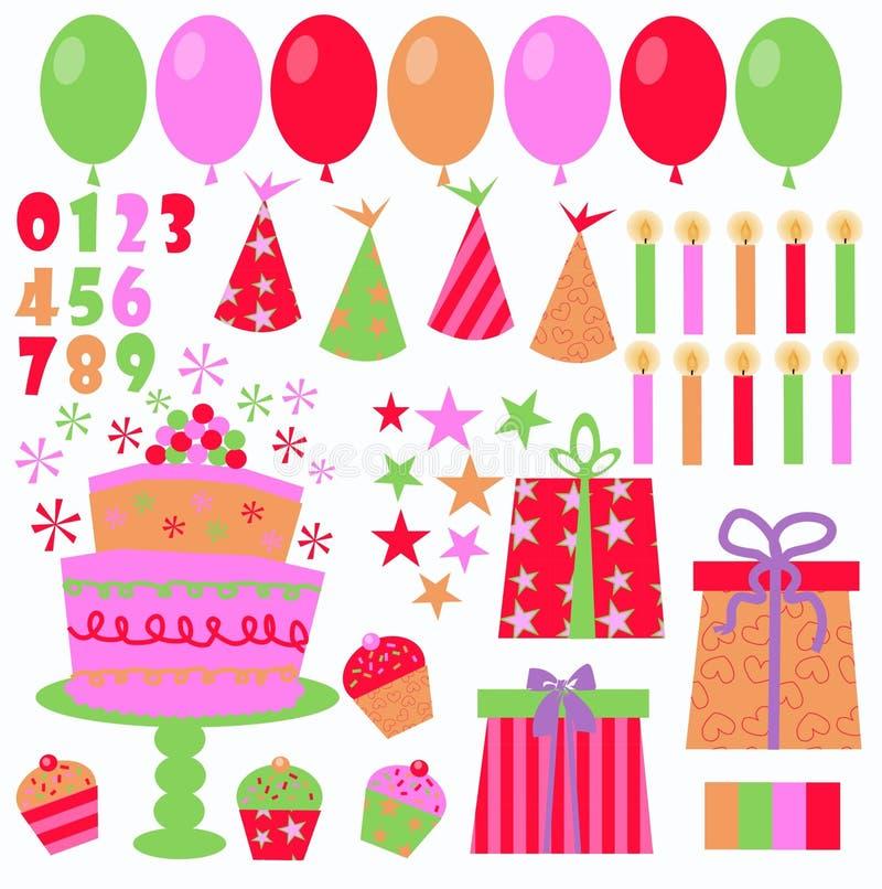 Birthday icons royalty free stock photo