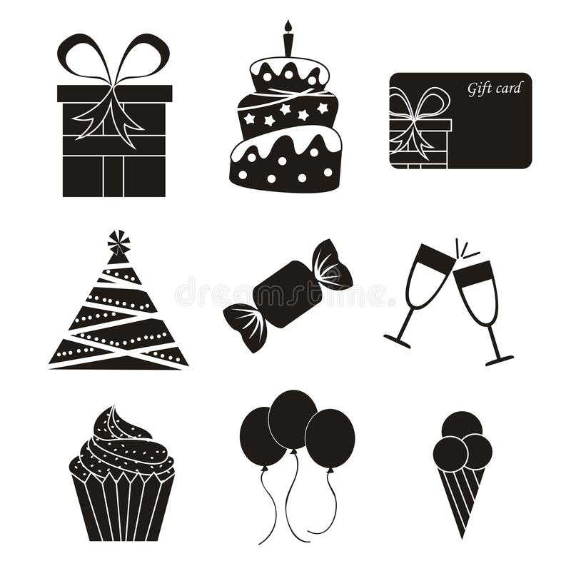 Download Birthday icons stock vector. Image of candle, candy, invitation - 27113647