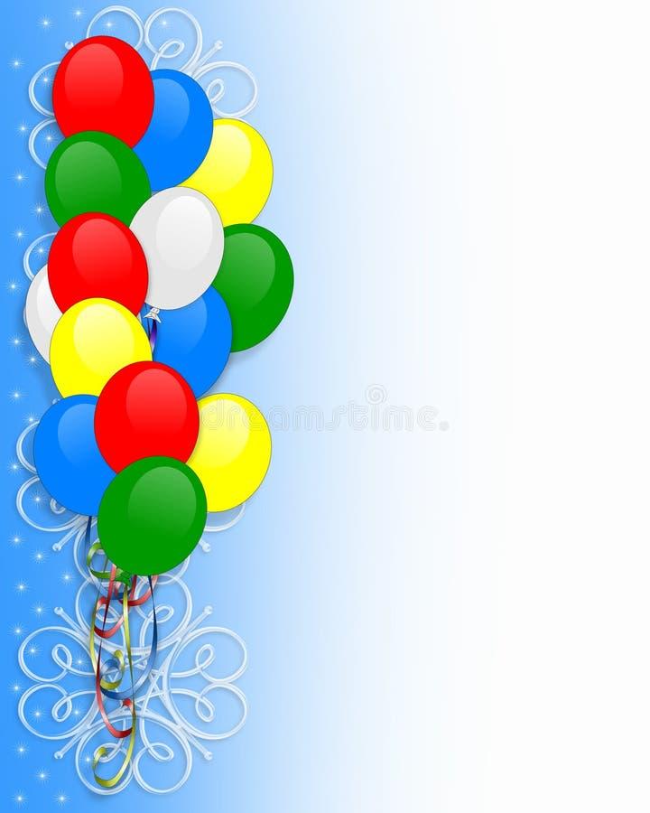 Birthday invitation Balloons border vector illustration