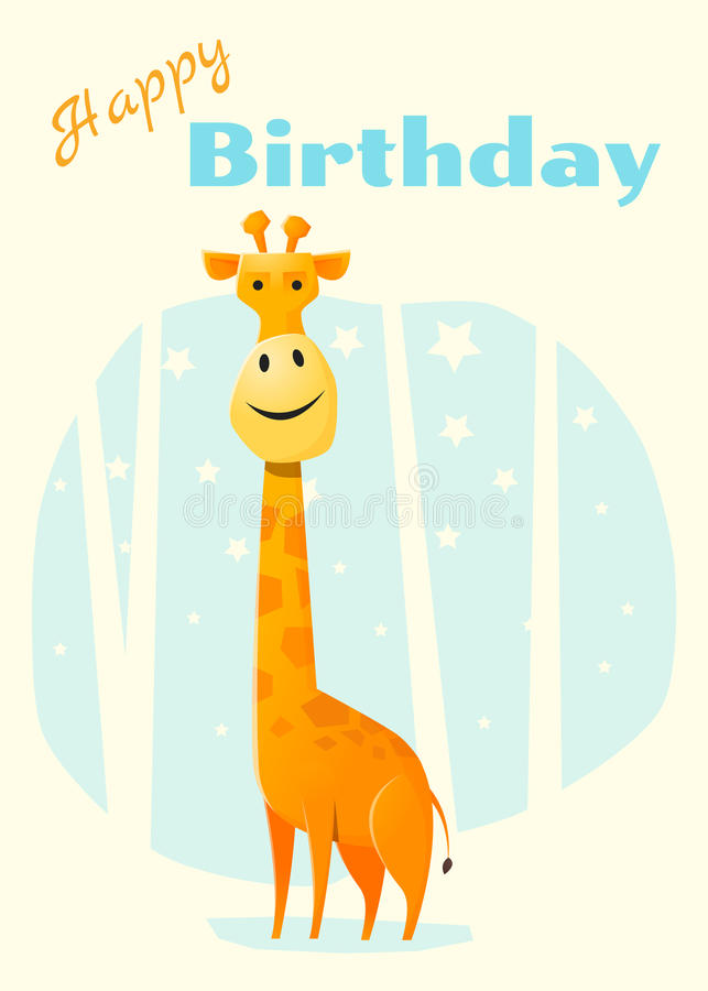 Birthday And Invitation Card Animal Background With Giraffe Stock ...