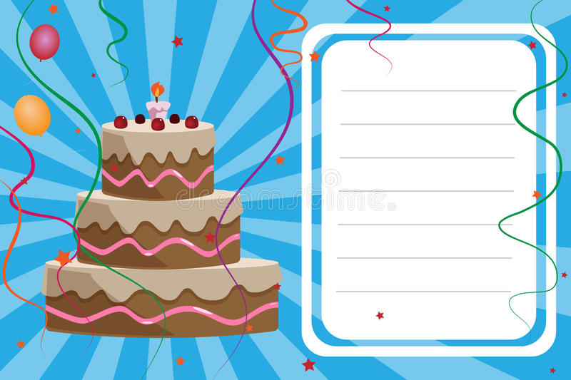 Birthday invitation card - boy. Illustration of a birthday invitation card for boy with space for your text. There is a cake, a candle, ribbons, balloons and