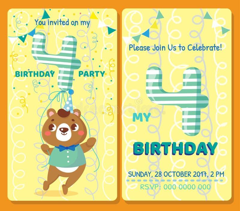 Birthday invitation card with cute animal. vector illustration