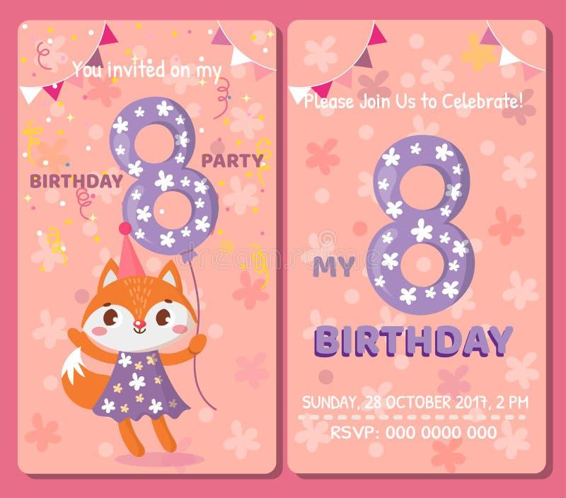 Birthday invitation card with cute animal. stock illustration