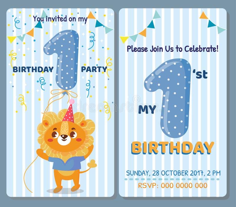 Birthday invitation card with cute animal royalty free illustration