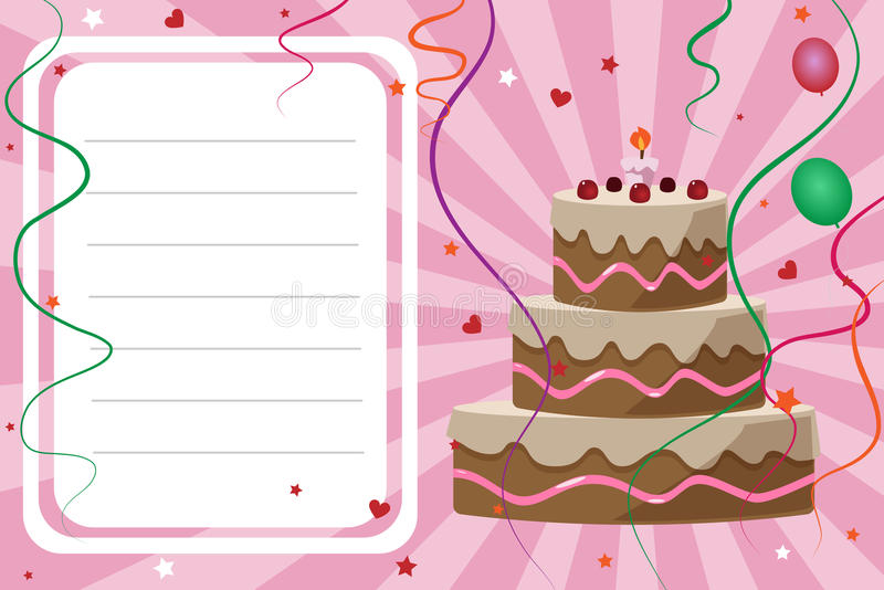 Birthday invitation card - girl stock illustration