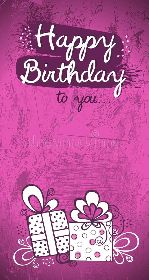Birthday Invitation Card Greeting Card Vector Design Pink