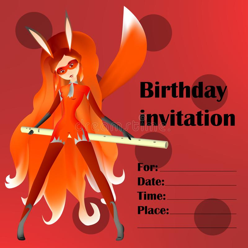Birthday invitation card for young people, children and fans mir. Aculous royalty free illustration