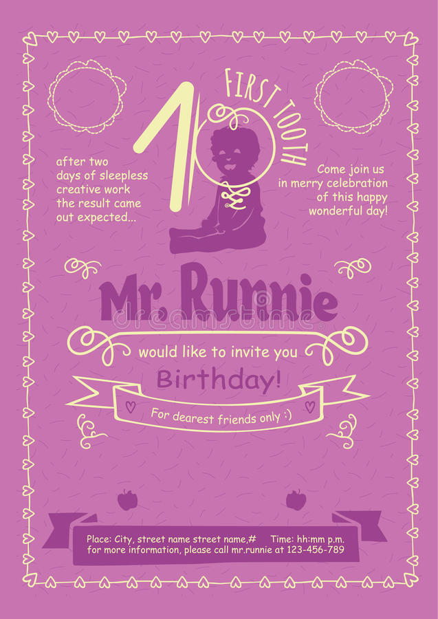 Birthday Invitation Flier with Hand-Drawn Calligraphic Frames, Borders and Swirls royalty free illustration