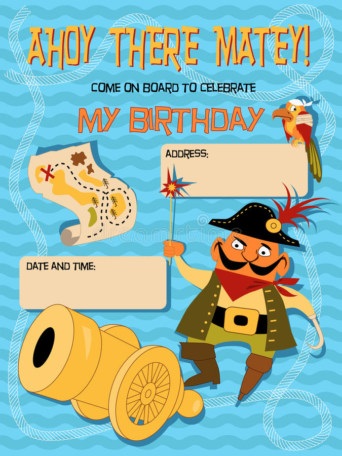 Download Birthday Invitation With A Pirate Stock Photo - Image: 33299980