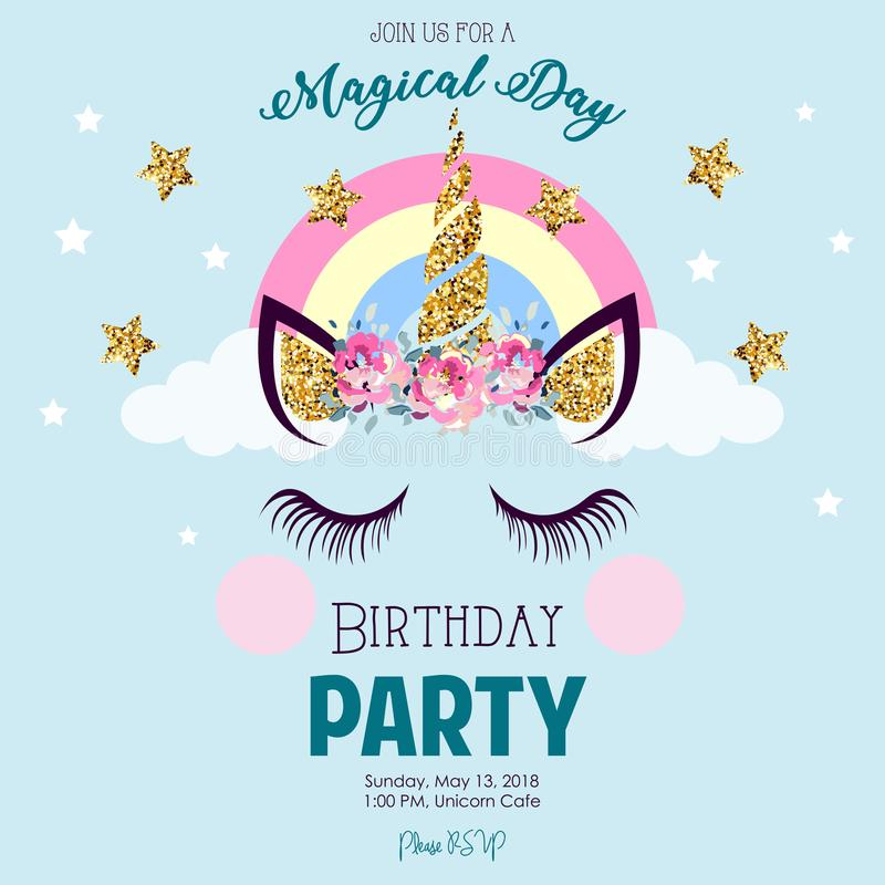 Birthday Invitation With Unicorn Stock Illustration Illustration