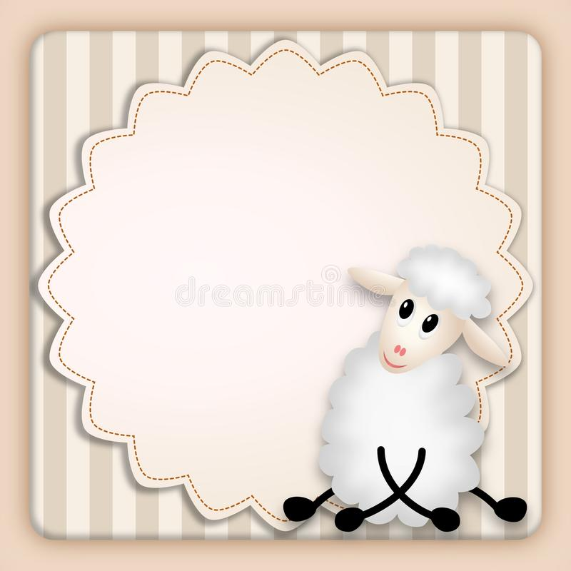 Free Birthday Invitation With Cute White Lamb Stock Image - 21615691