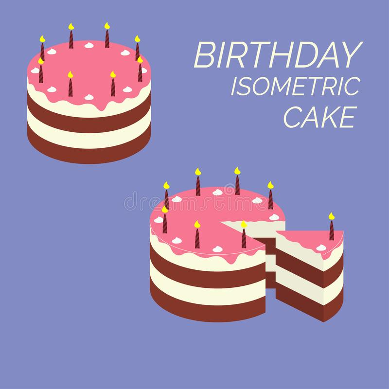 Birthday isometric cake. Isometric puff cake with candles and cream flowers. Chocolate piece and slice pink glaze icon pie from. The bakery. Infographic sweet royalty free illustration
