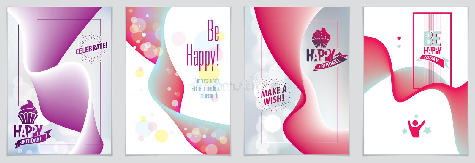 Birthday joyful and bright vector greeting card. Includes lettering composition and balloons combined with wavy fluid colorful. Shape abstract backgrounds stock illustration