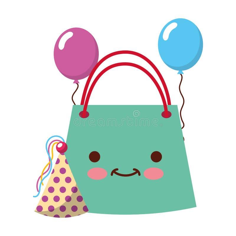 Birthday kawaii bag party hat balloons vector illustration