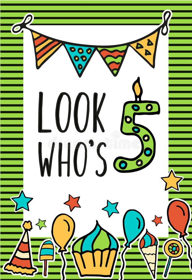 Birthday Kids vector card stock illustration