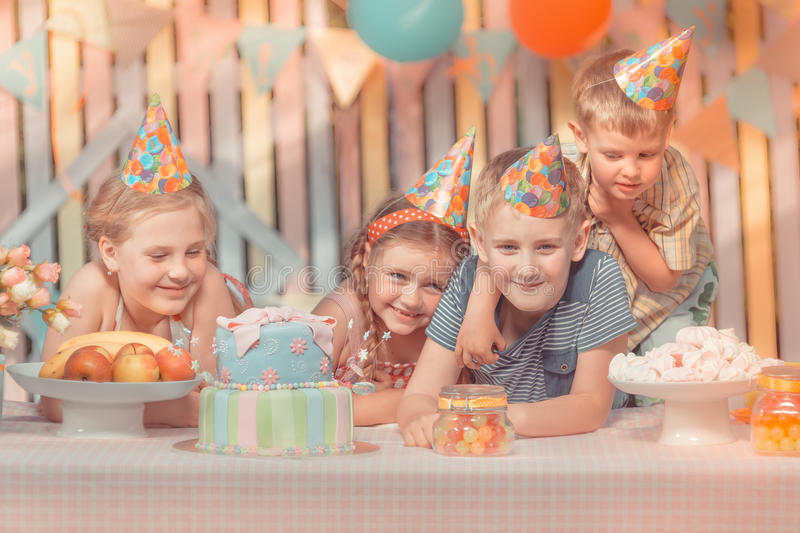 Birthday. Kidsl rejoice in her birthday round about her very emotional friends royalty free stock photography